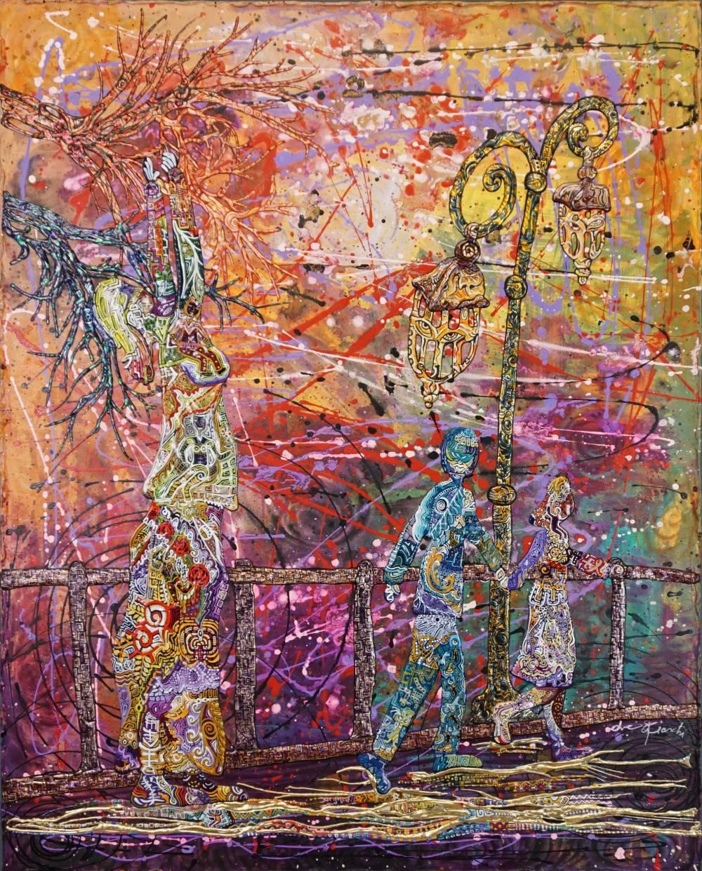 OMBRE A PASSEGGIO -quadro - anno 2016 - 80 cm x 100 cm h - acrilico su tela ,foglia oro, rilievo in acrilico delle figure,alberi lampioni e staccionata