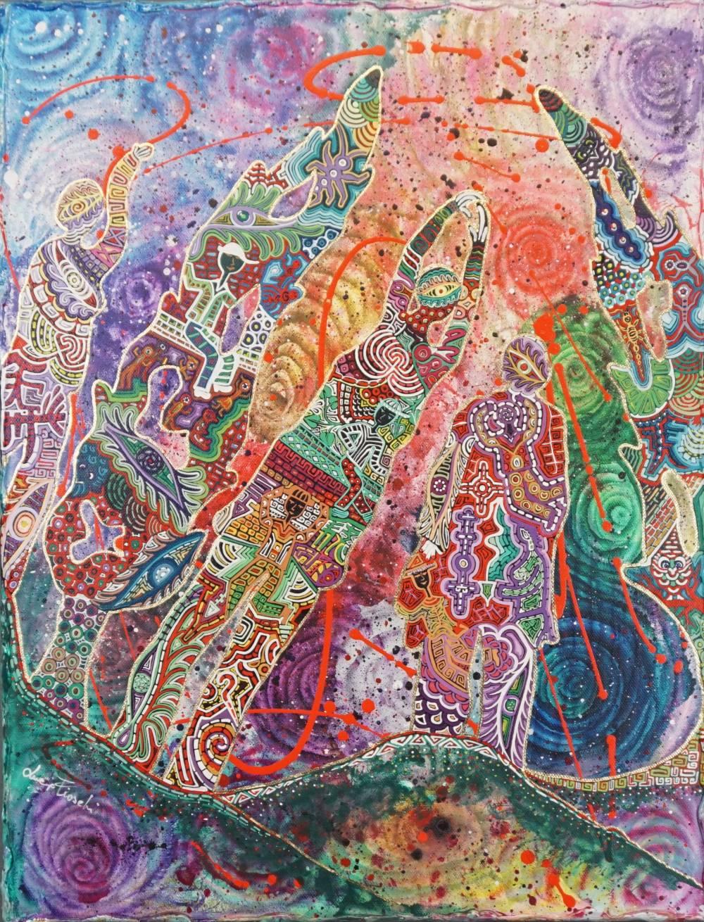 OMBRE SULLA HARLEY - quadro - anno 2016 - 50 cm x 67 cm h - acrilico su tela con foglia oro