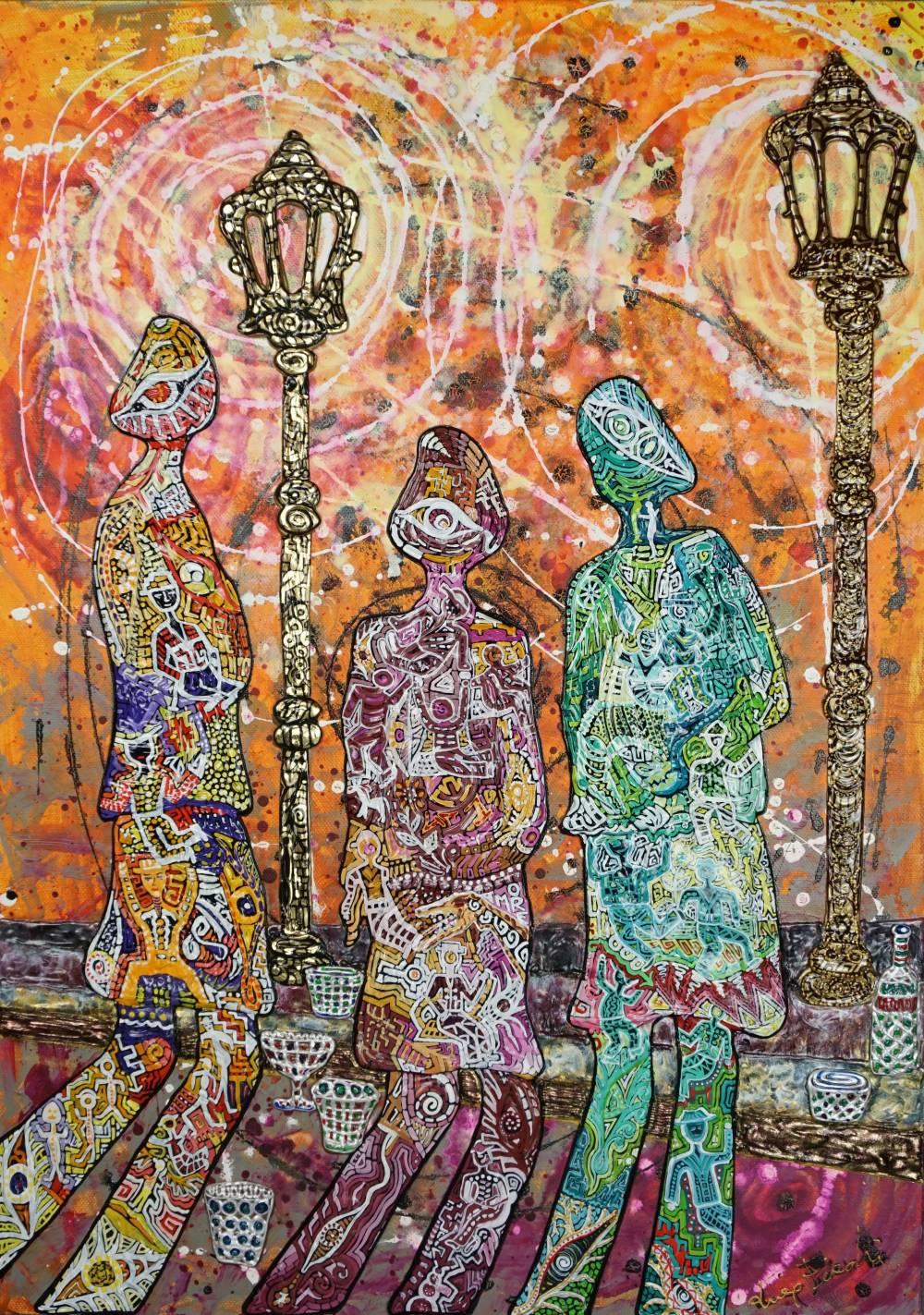 OMBRE DOPO LA FESTA - quadro- anno 2016 - 50 cm x 70 cm h -acrilico su tela con foglia oro - figure lampioni marciapiede e bicchieri in rilievo