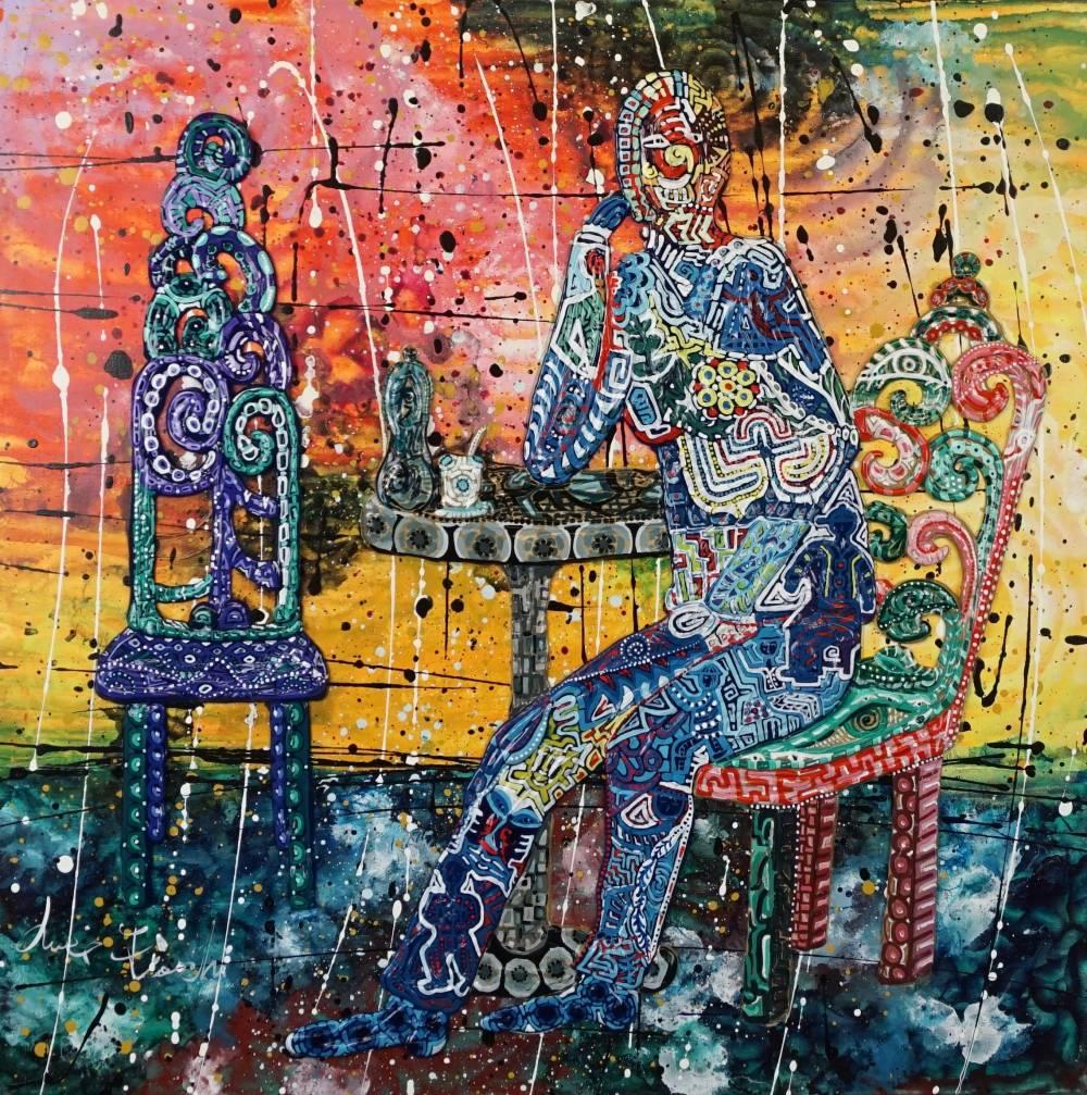 OMBRA BLU AL BAR - quadro - anno 2017 - 50 cm x 70 cm h - acrilico su tela - figura tavolo e sedie in rilievo