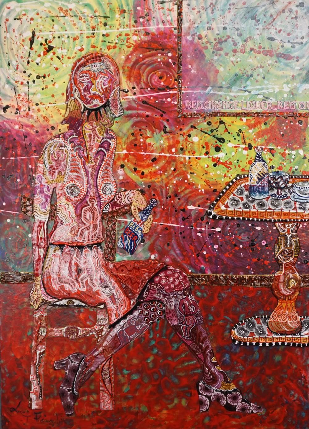 OMBRA ROSSA AL BAR - quadro - anno 2017 - 50 cm x 70 cm h - acrilico su tela - figura con sedia tavolo e cornice a rilievo -