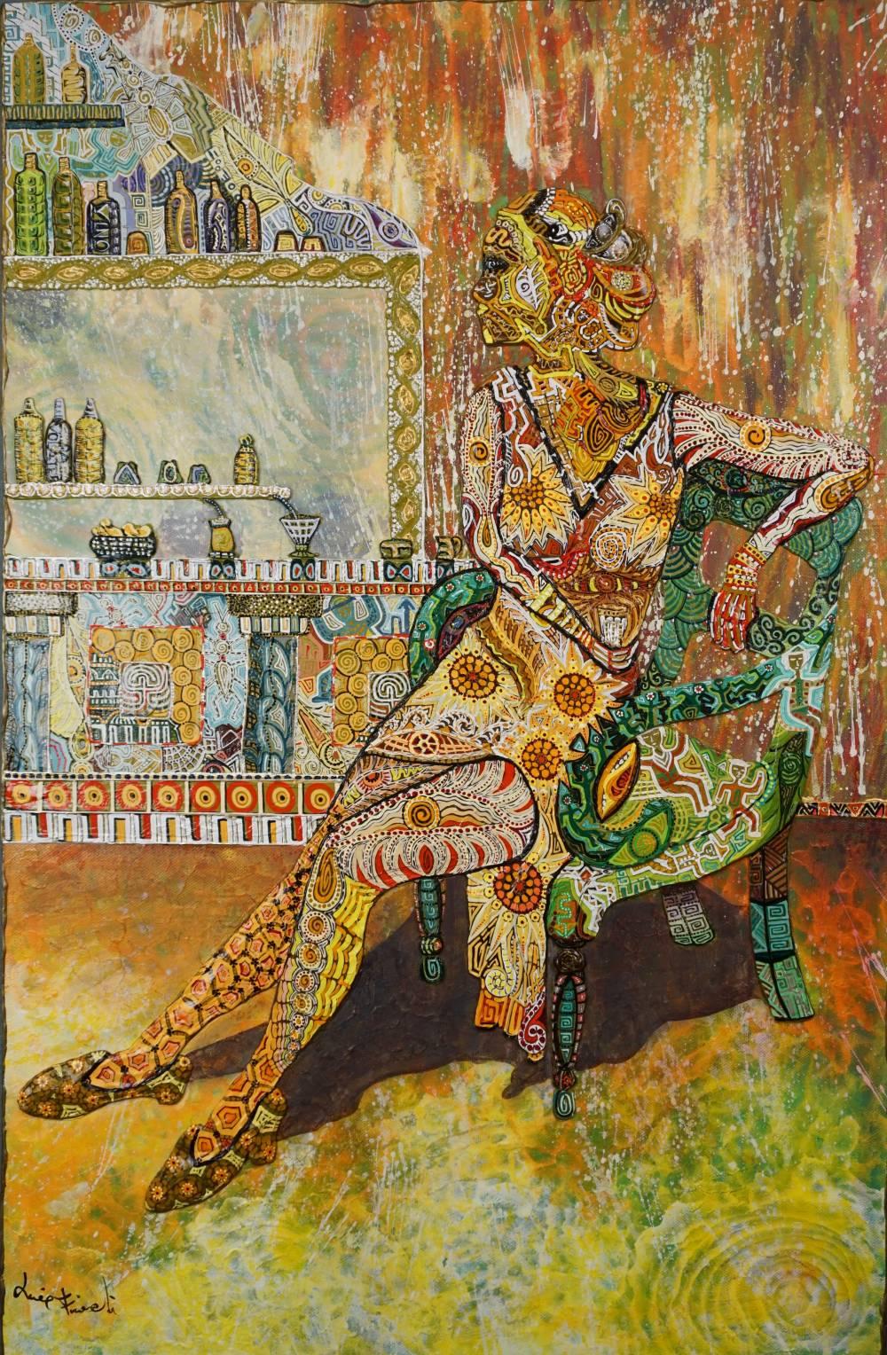 OMBRA GIALLA AL BAR - quadro - anno 2017 - 59 cm x 91 cm h - acrilico su tela - figura seduta con bancone di bar in rilievo -