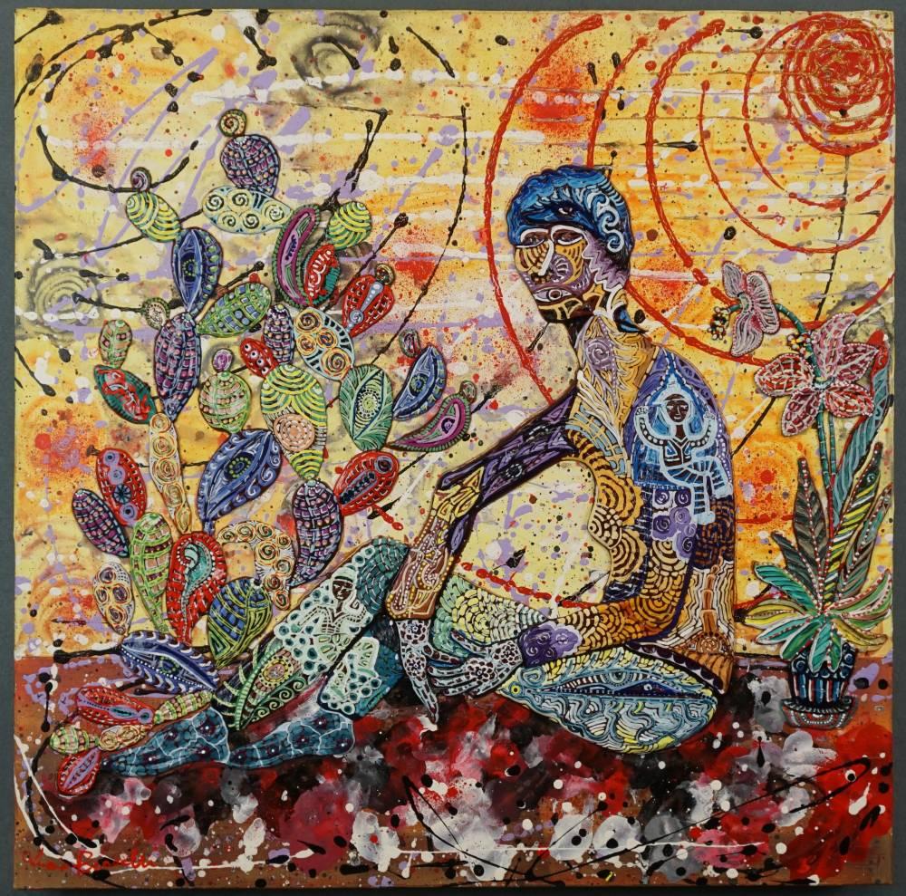 OMBRA CON CACTUS - quadro - anno 2017 - 50 cm x 50 cm - acrilico su tela - figura vaso e cactus in rilievo -