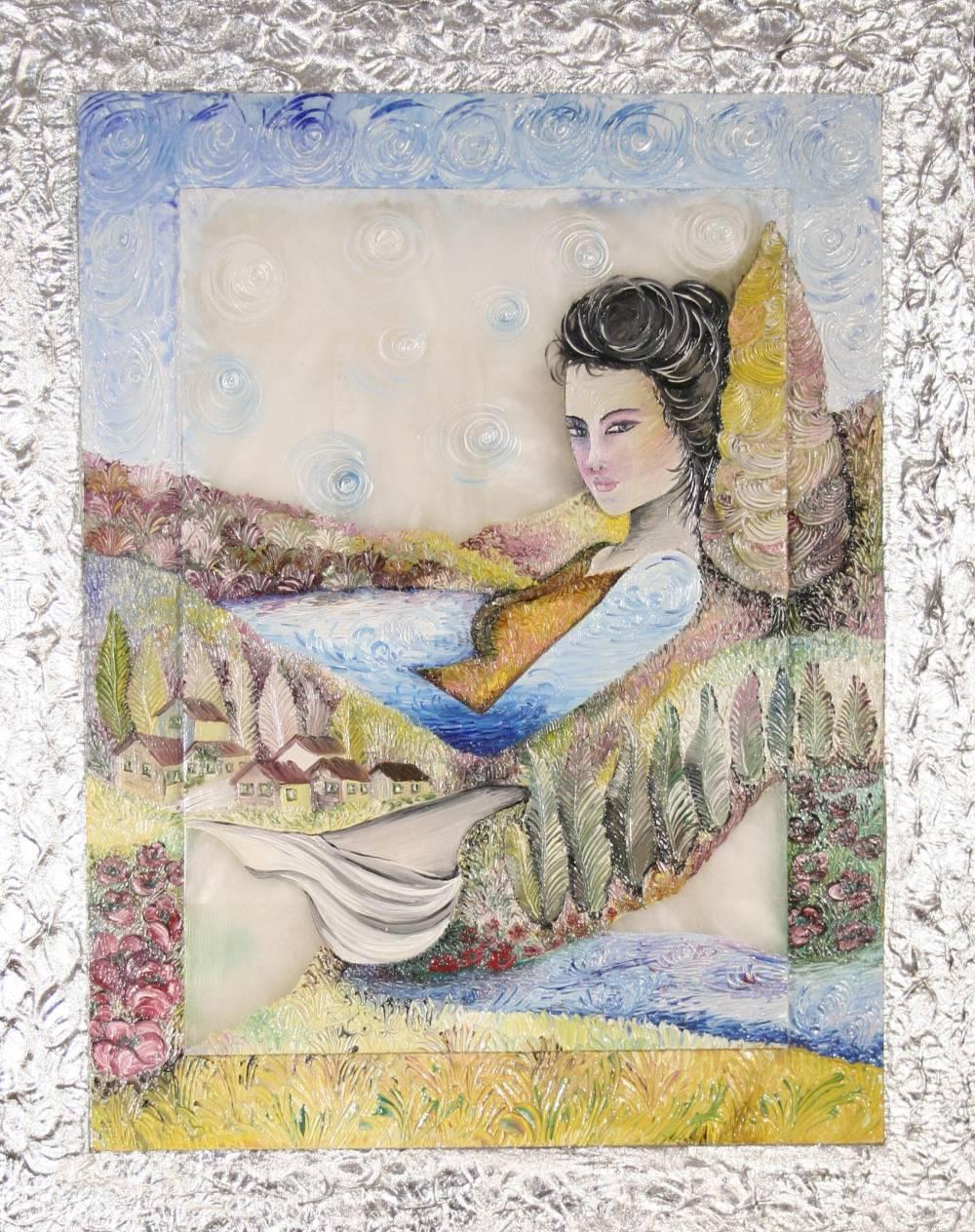 AL DI LA´ DEL LAGO - quadro 40,5 cm x h 50,5 cm - olio su pietra alabastro e tavola - anno 2013