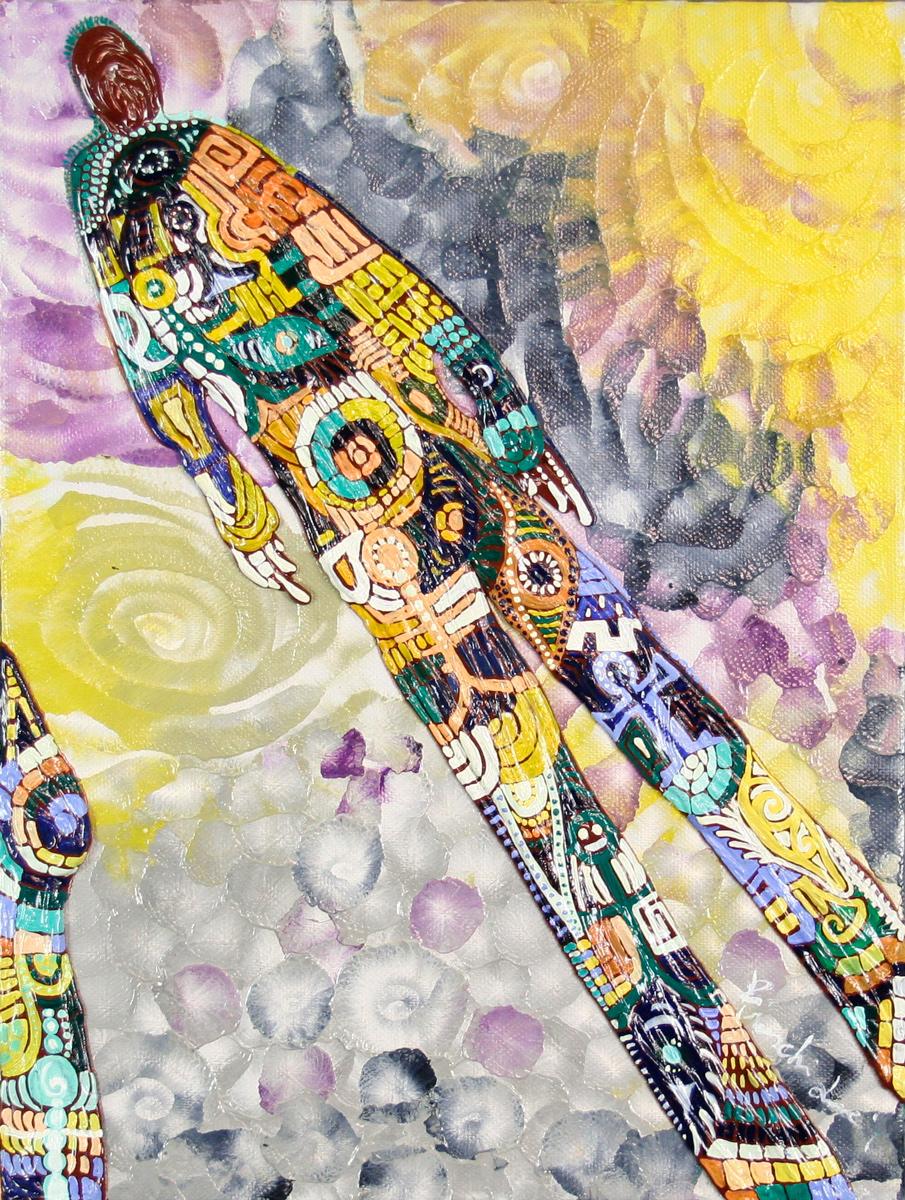 L´OMBRA DI SABBIA - quadro 30 cm x h 40 cm - olio e acrilico su tela - anno 2014 - figure in rilievo