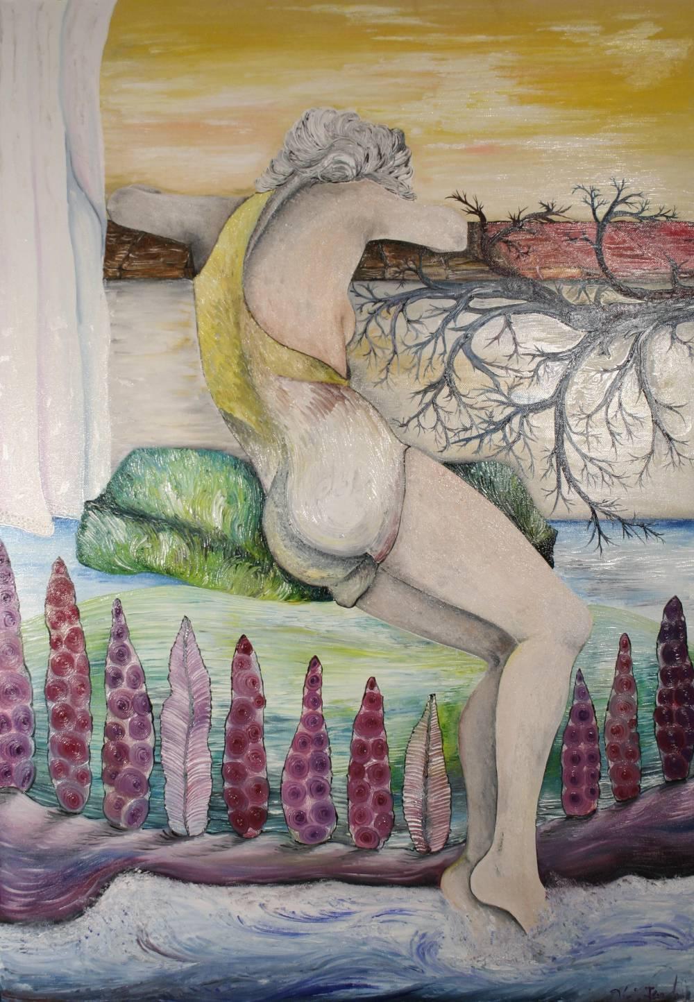 AURORA SULL ´ ISOLA - quadro 70 cm x h 100 cm - olio su tela - anno 2013