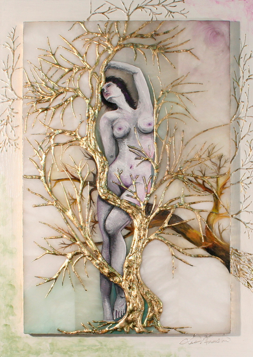 L´ALBERO DI EVA - quadro 40 cm x h 56 cm - olio e acrilico con foglia oro su pietra alabastro e tavola - anno 2014 - foglia oro in rilievo