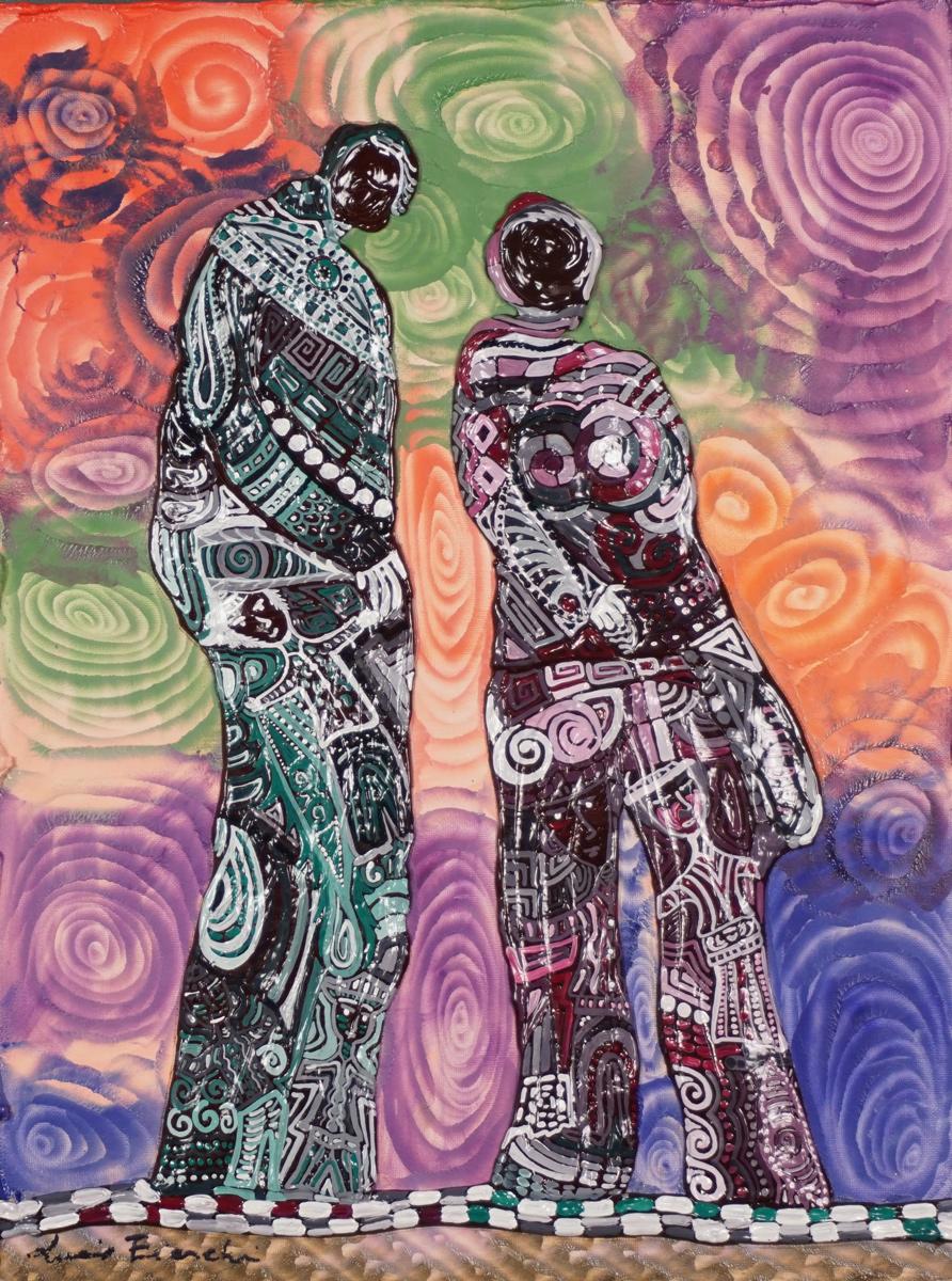 OMBRA DELL´INCONTRO_ quadro 30 cm x h 40 cm - olio e acrilico su tela - anno 2014 - figure a rilievo