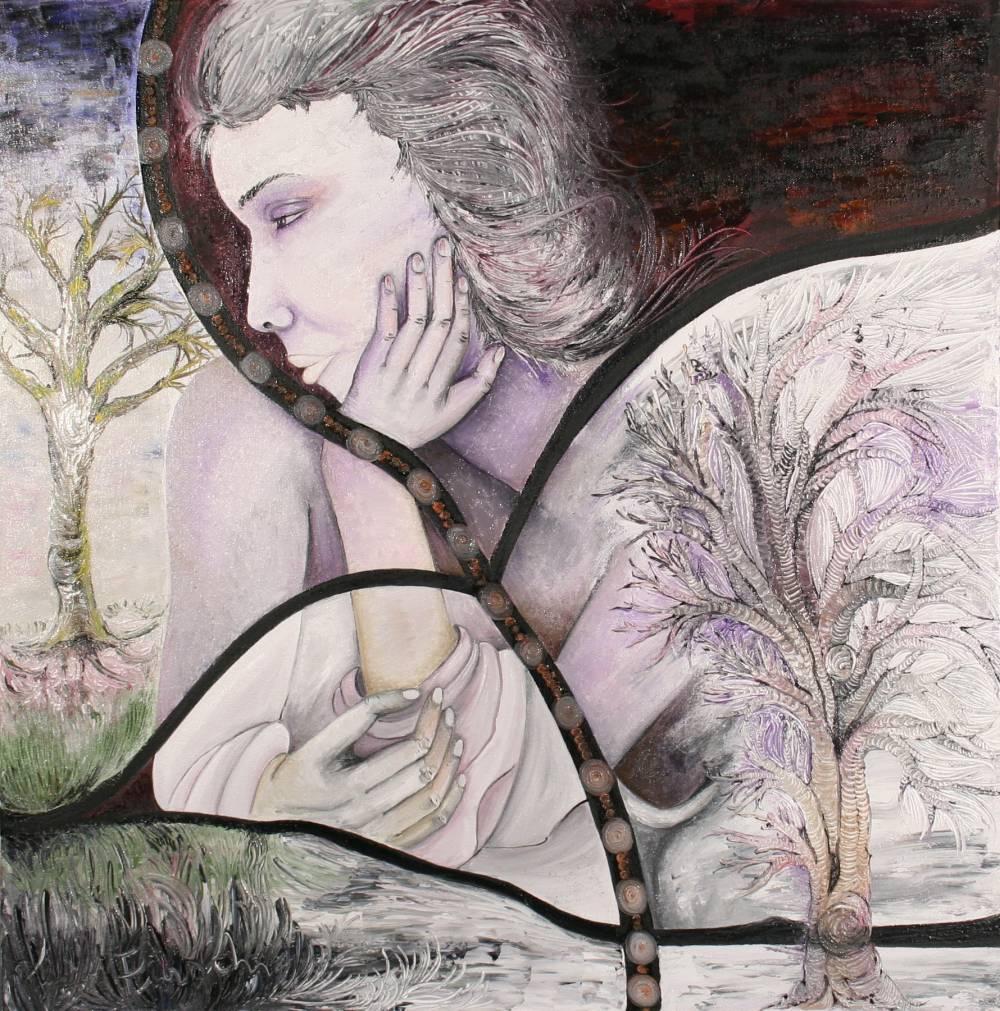 PENSIERI - quadro 60 cm x h 60 cm - olio su tela - anno 2014