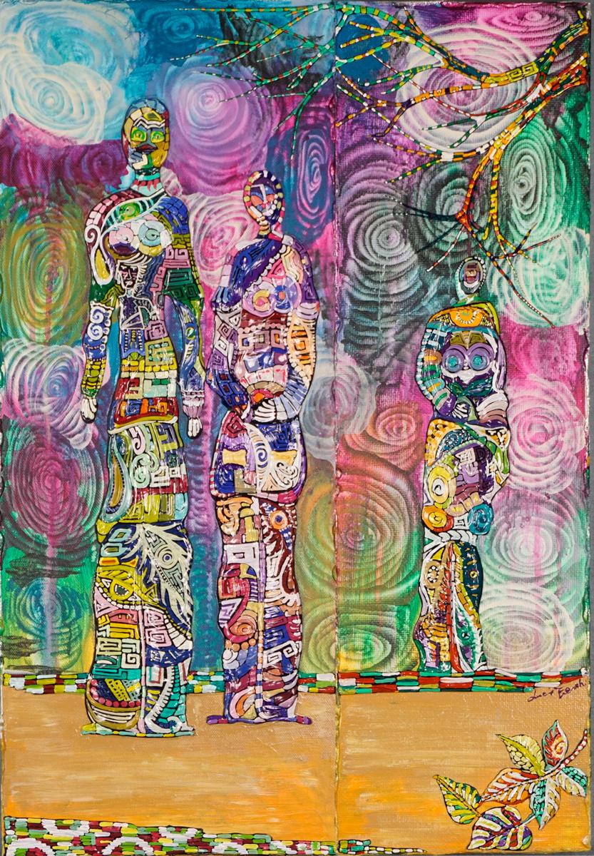 OMBRE SUL PRATO _ quadro 50 cm x h 70 cm - olio e acrilico su tela - anno 2014 - figure e rami a rilievo