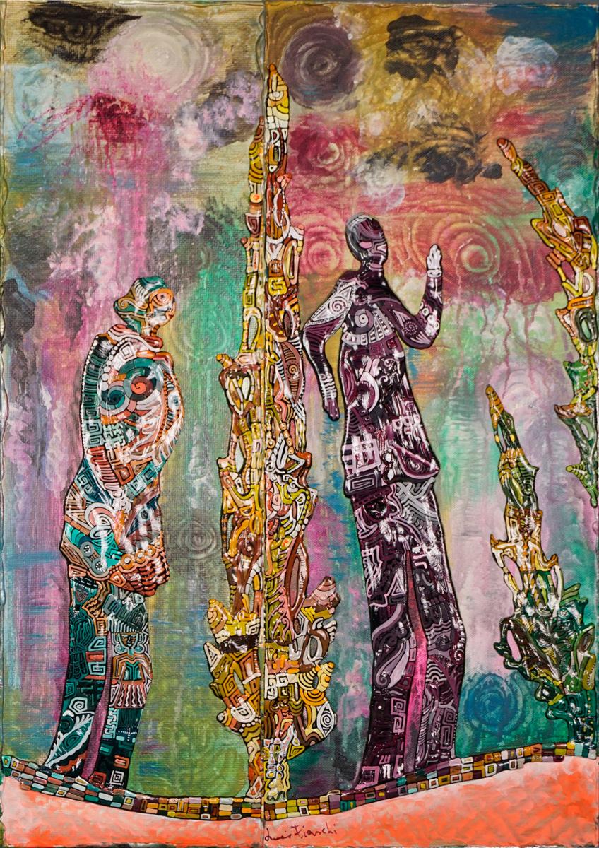 OMBRE TRA I CIPRESSI _ quadro 50 cm x h 70 cm - olio e acrilico su tela - anno 2014 - figure e alberi a rilievo