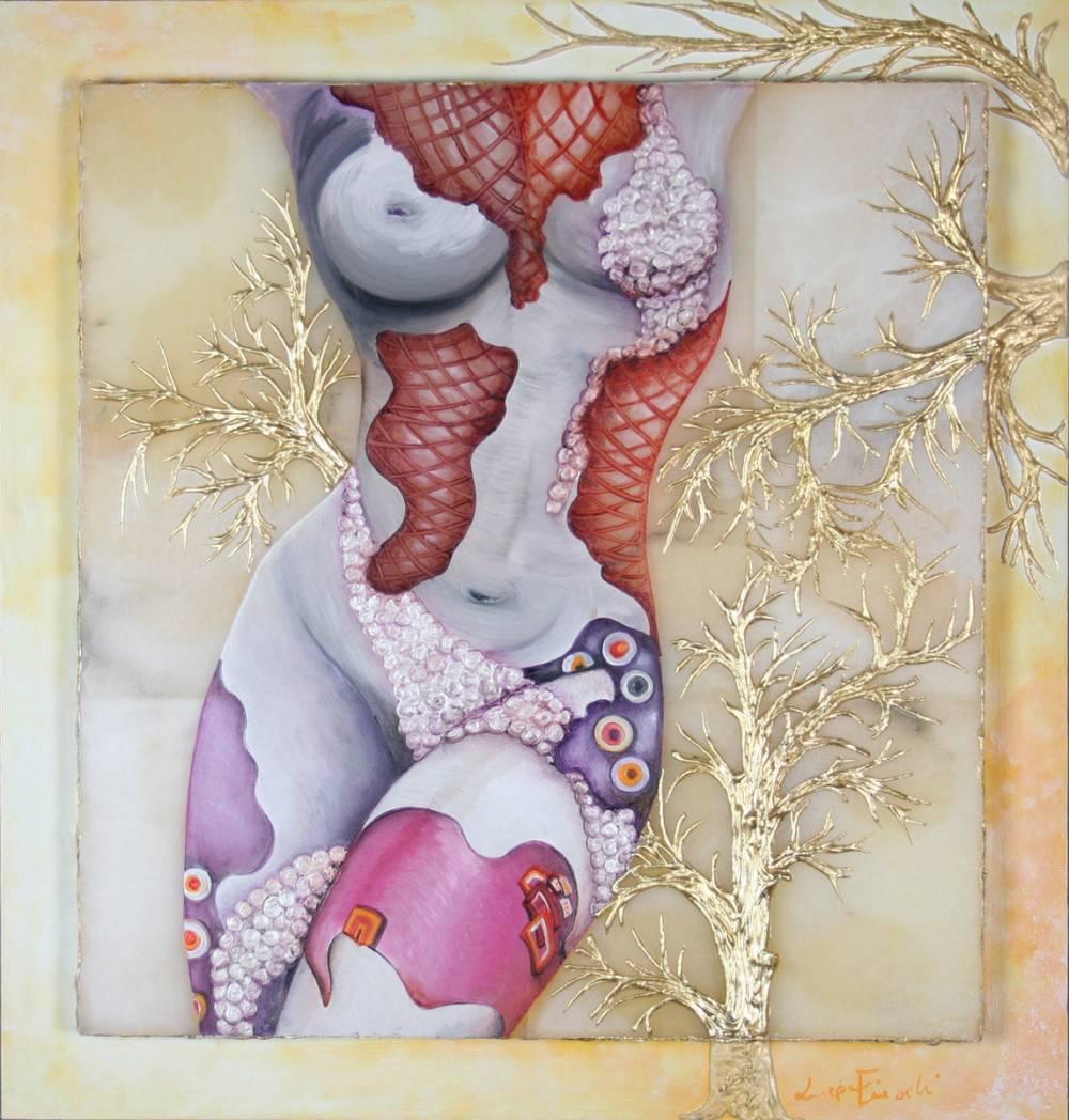 IL CORPO DI VIOLA - quadro 48 cm x h 50 cm - olio e acrilico con foglia oro su pietra alabastro e tavola - anno 2014 - foglia oro in rilievo