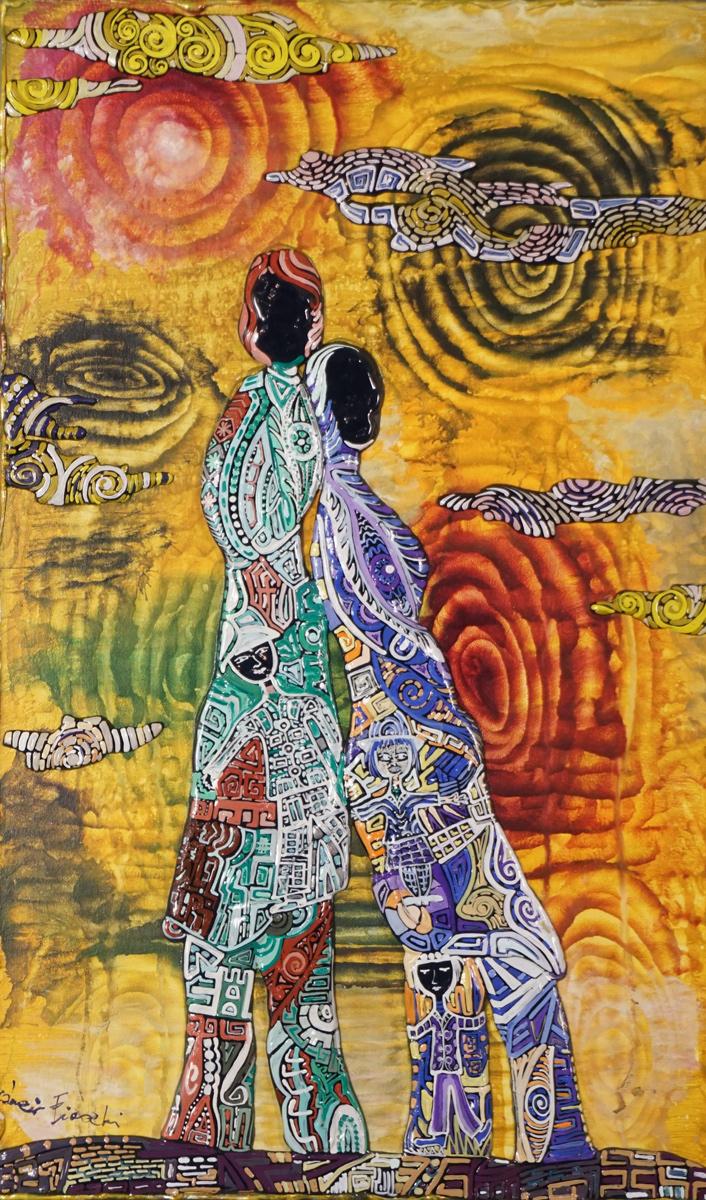 OMBRE E NUVOLE _ quadro 30 cm x h 50 cm - olio e acrilico su tela - anno 2015 - figure in rilievo