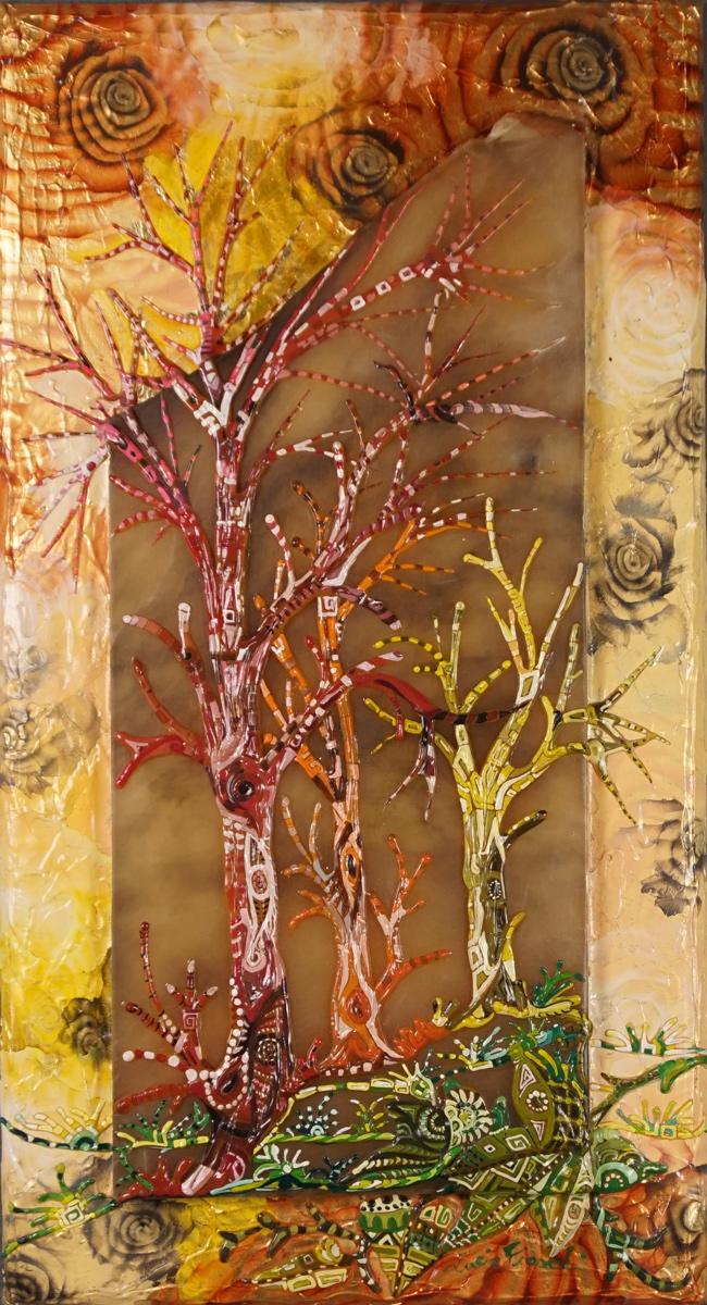 LE OMBRE DI SERA _ quadro 30 cm x h 56 cm - olio su pietra alabastro e tavola con foglia oro - anno 2015 - alberi a rilievo