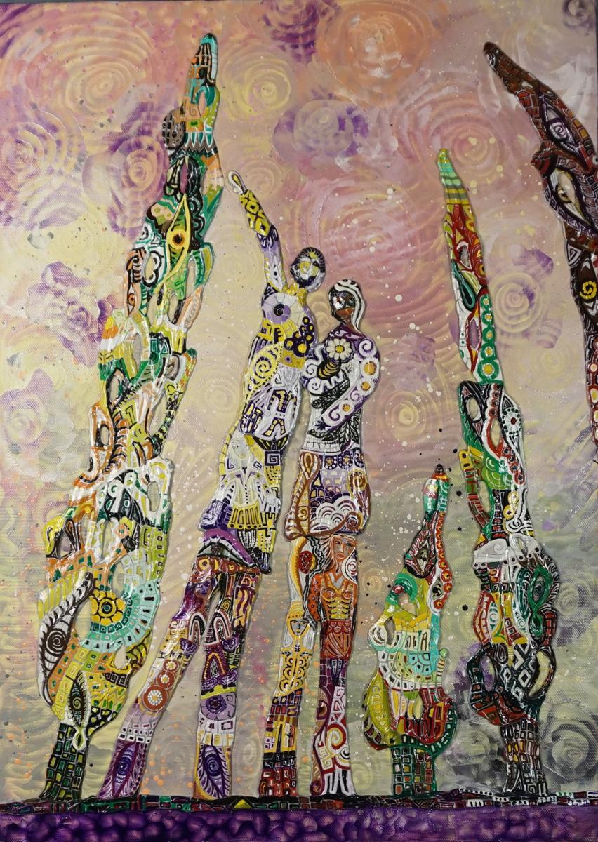 OMBRE DI PRIMAVERA _ quadro 50 cm x h 70 cm - olio e acrilico su tela - anno 2015 - figure e alberi a rilievo