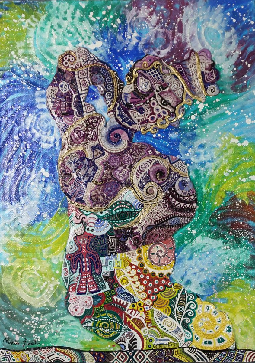 OMBRA VIOLA SULLO SCOGLIO _ quadro 50 cm x h 70 cm - olio e acrilico su tela - anno 2015 - figura a rilievo