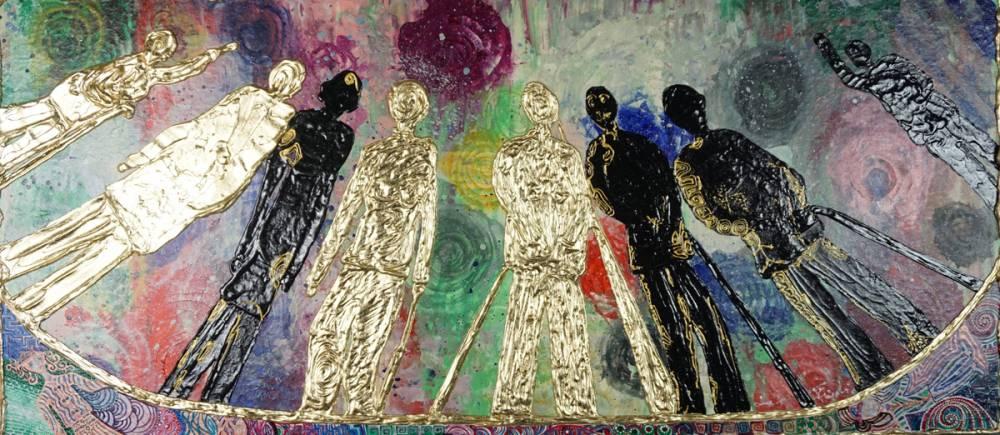 OMBRA DI PRESENZA ASSENZA _ quadro 90 cm x h 40 cm - acrilico e foglia oro su tela - anno 2015 - figure in rilievo
