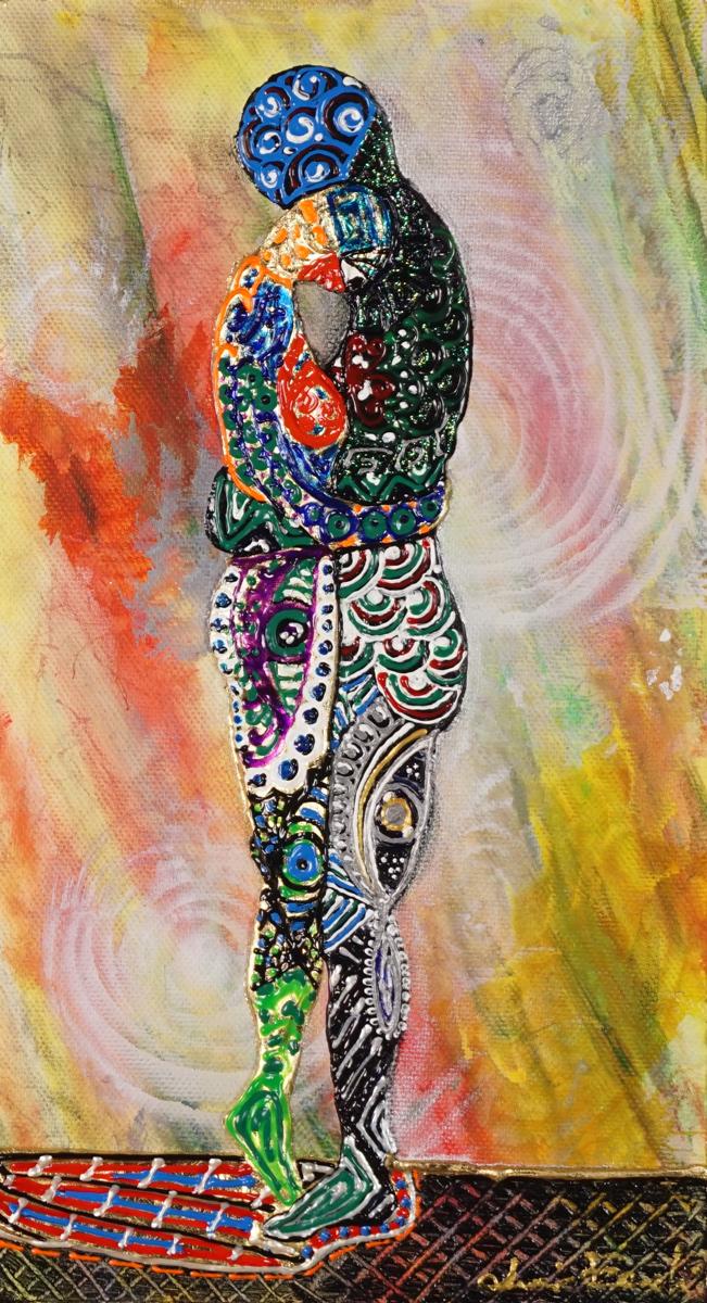 OMBRA DOPO IL BACIO _ quadro 20 cm x h 36 cm - acrilico e foglia oro su tela - anno 2015 - figure in rilievo