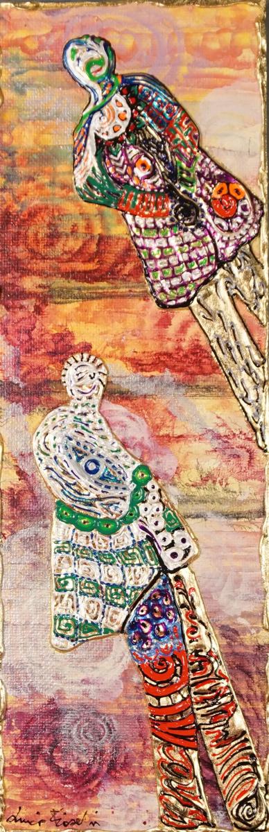 OMBRE OBLIQUE AL TRAMONTO _ quadro 17 cm x h 52 cm - acrilico e foglia oro su tela - anno 2015 - figure in rilievo