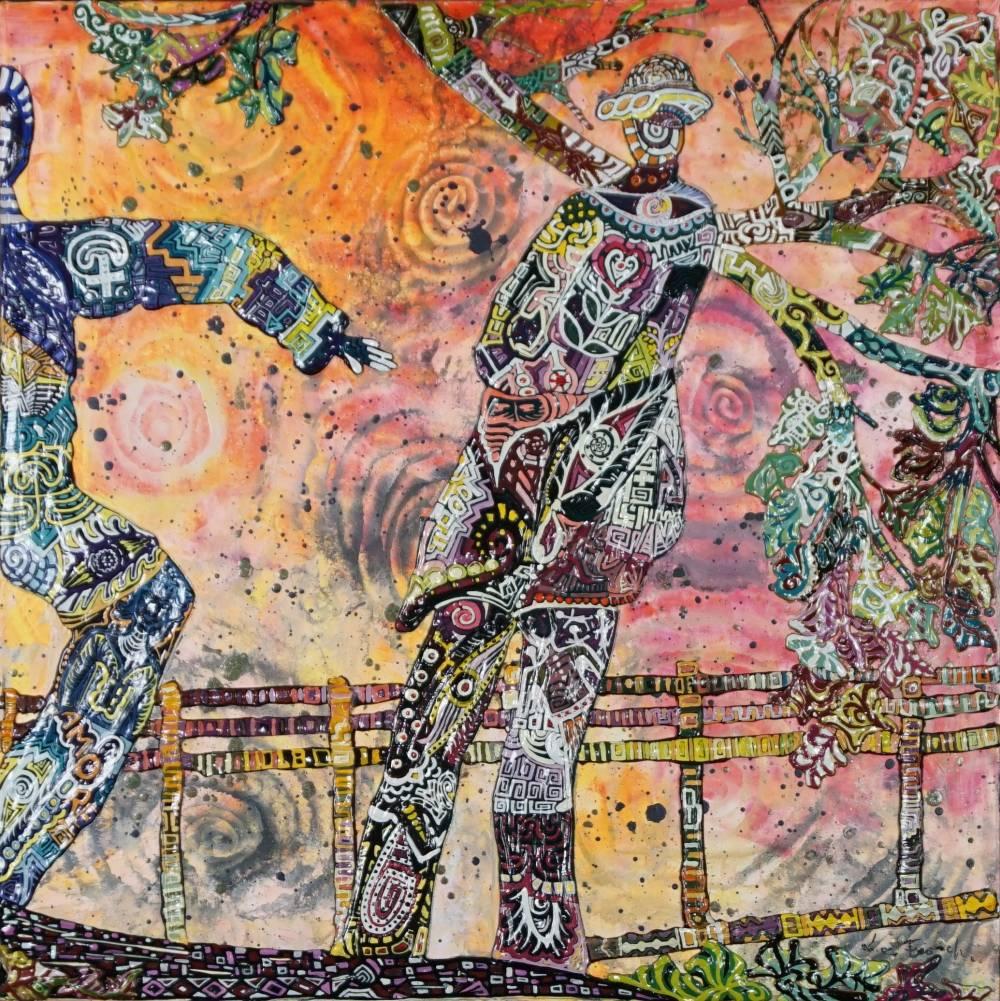 OMBRA DEL MEZZO AMORE _ quadro 50 cm x h 50 cm - olio e acrilico su tela - anno 2016 - ombre in rilievo