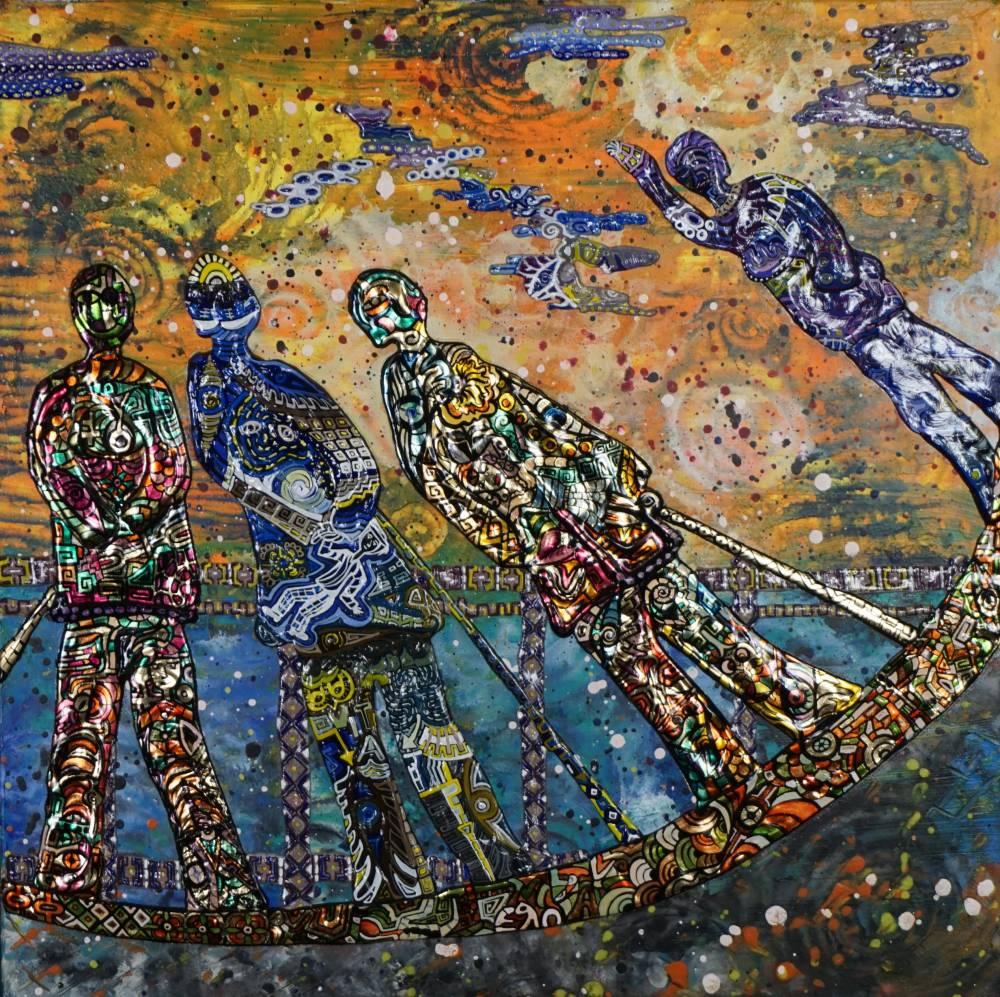 OMBRE DI ASSENZA _ quadro 50 cm x h 50 cm - olio, acrilico e foglia oro su tela - anno 2016 - ombre in rilievo