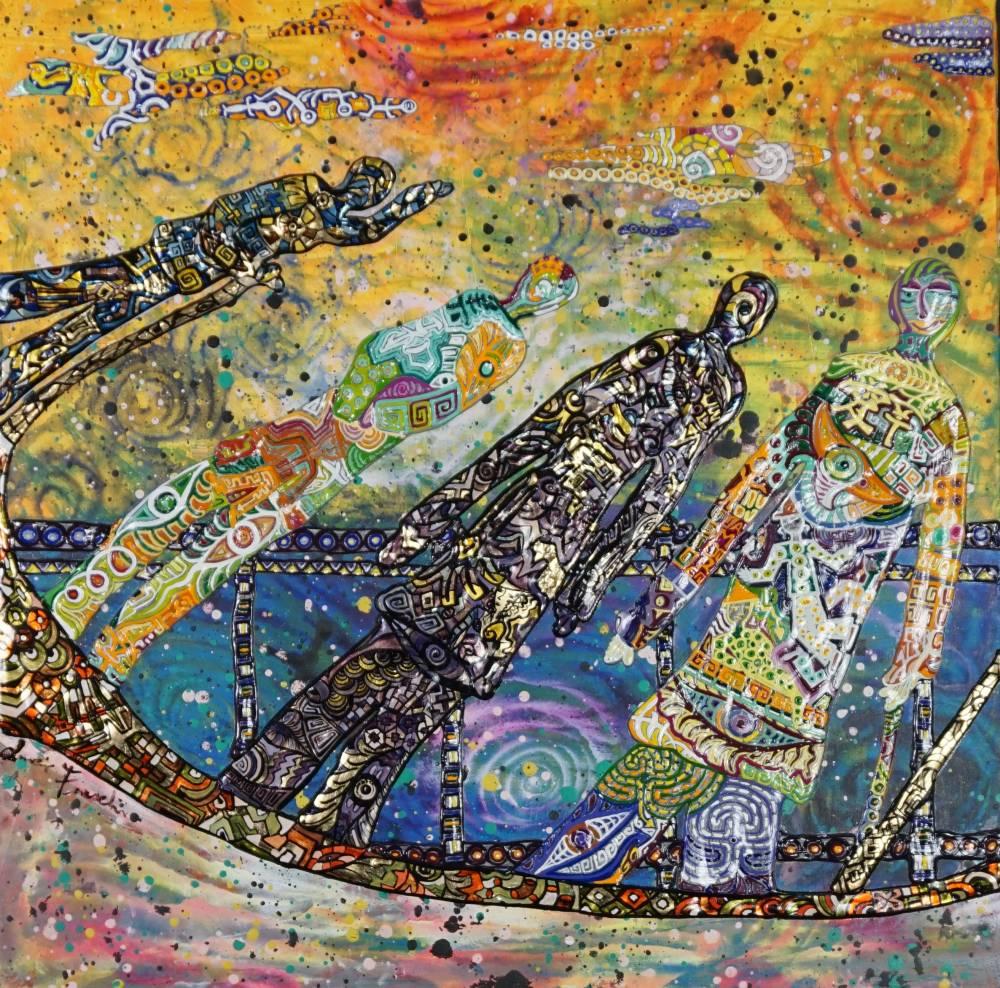 OMBRE DI PRESENZA _ quadro 50 cm x h 50 cm - olio, acrilico e foglia oro su tela - anno 2016 - ombre in rilievo