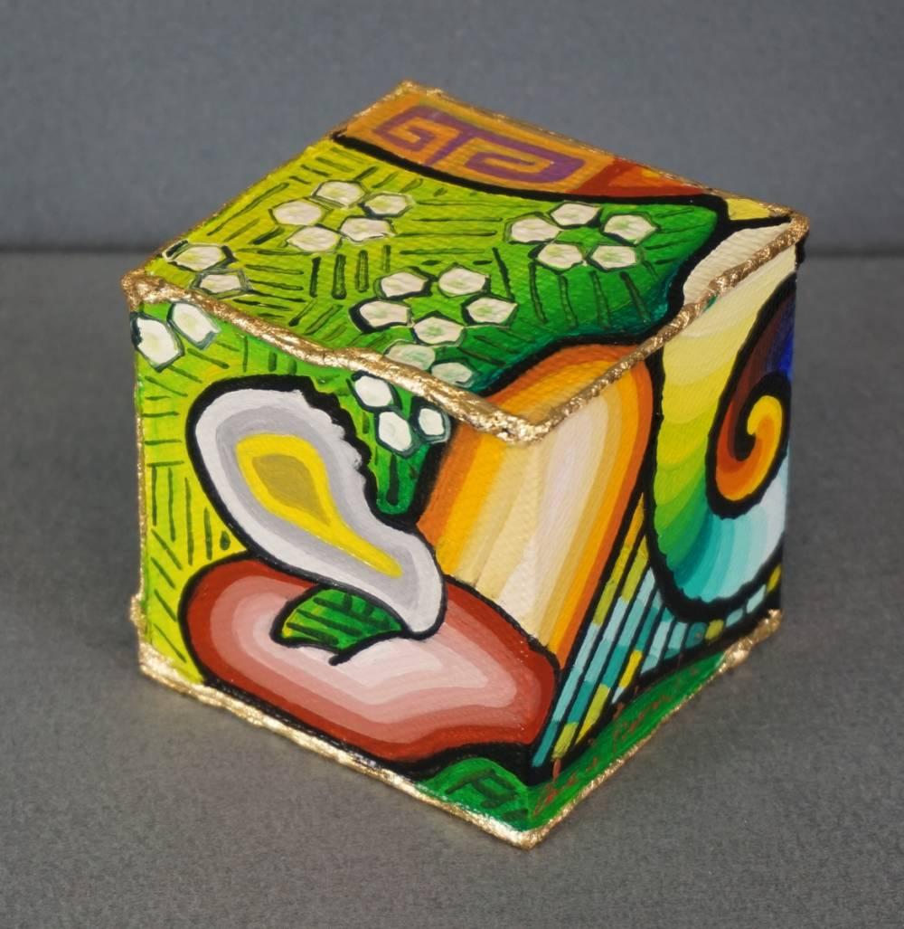 DISTESA SUL PRATO - cubo 8 cm x 8 cm x h 8 cm - olio su tela - 1° immagine