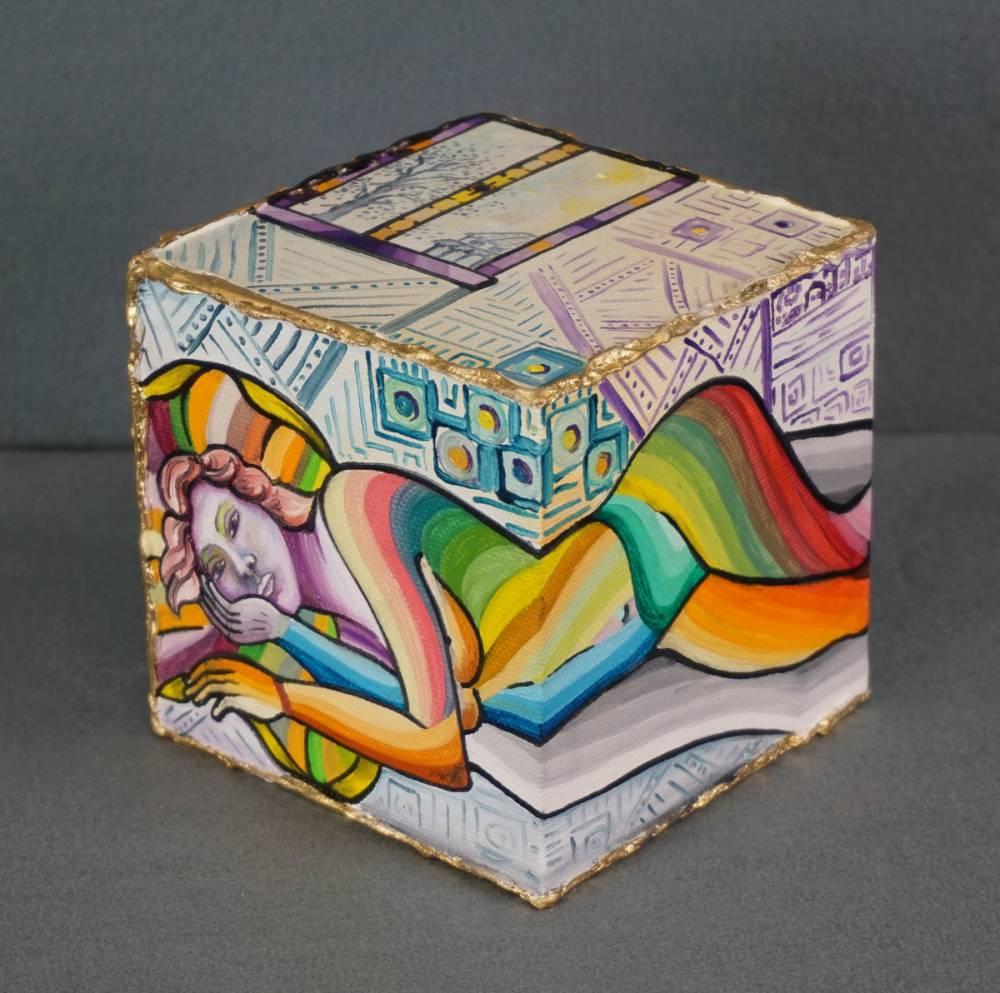 LA STANZA DEL RIPOSO - cubo 12 cm x 12 cm x h 12 cm - olio su tela - anno 2014 - 1° immagine
