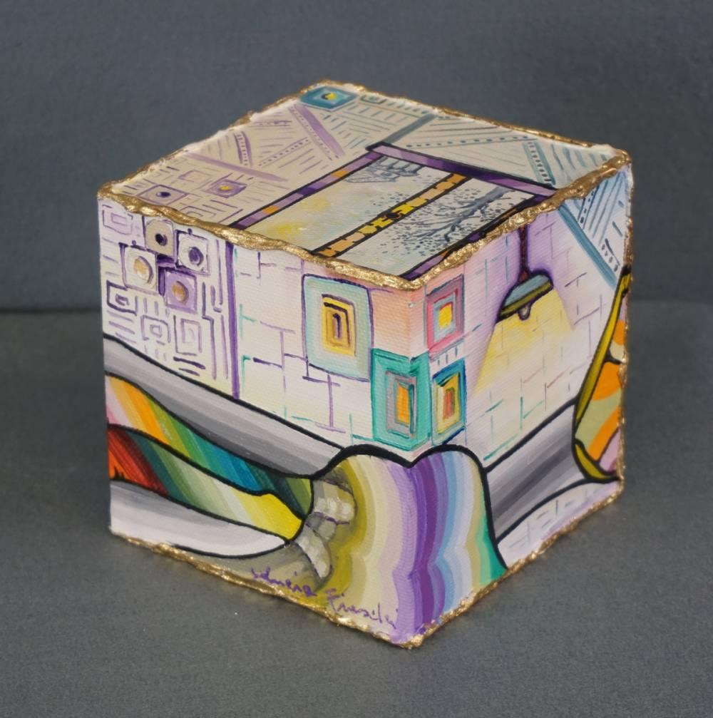 LA STANZA DEL RIPOSO - cubo 12 cm x 12 cm x h 12 cm - olio su tela - -anno 2014 - 2° immagine