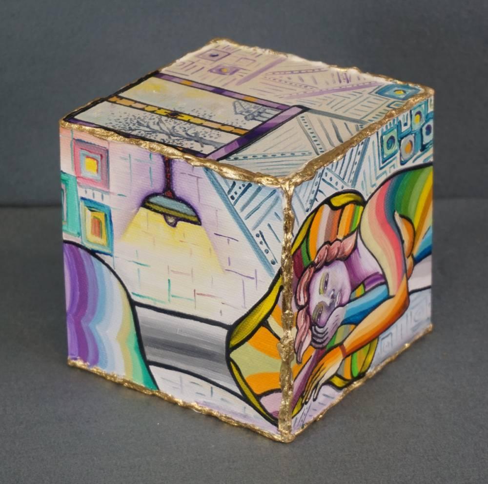LA STANZA DEL RIPOSO - cubo 12 cm x 12 cm x h 12 cm - olio su tela - anno 2014 - 3° immagine