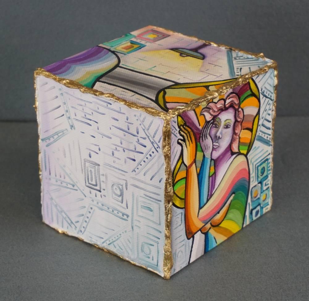 LA STANZA DEL RIPOSO - cubo 12 cm x 12 cm x h 12 cm - olio su tela - anno 2014 - 4° immagine