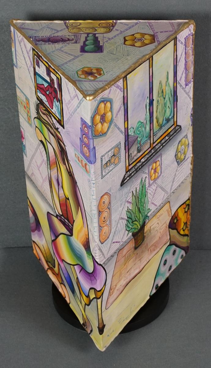 VISIONI DI LUCE - prisma 25 cm x 25 cm x h 42,5 cm - olio su tela - anno 2015 - base ruotante - 3° immagine