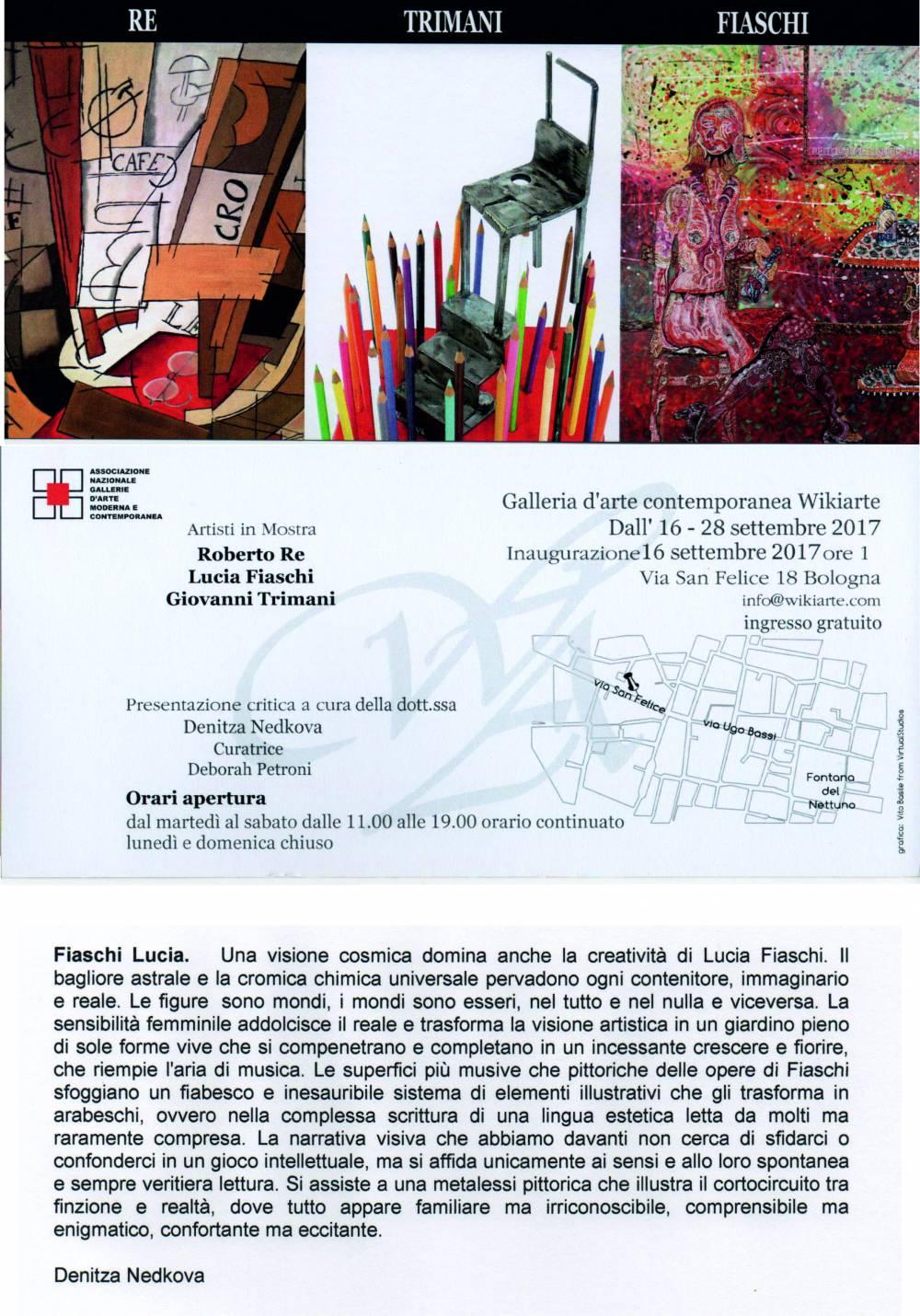 invito per la inaugurazione della mostra personale a Bologna 09/2017