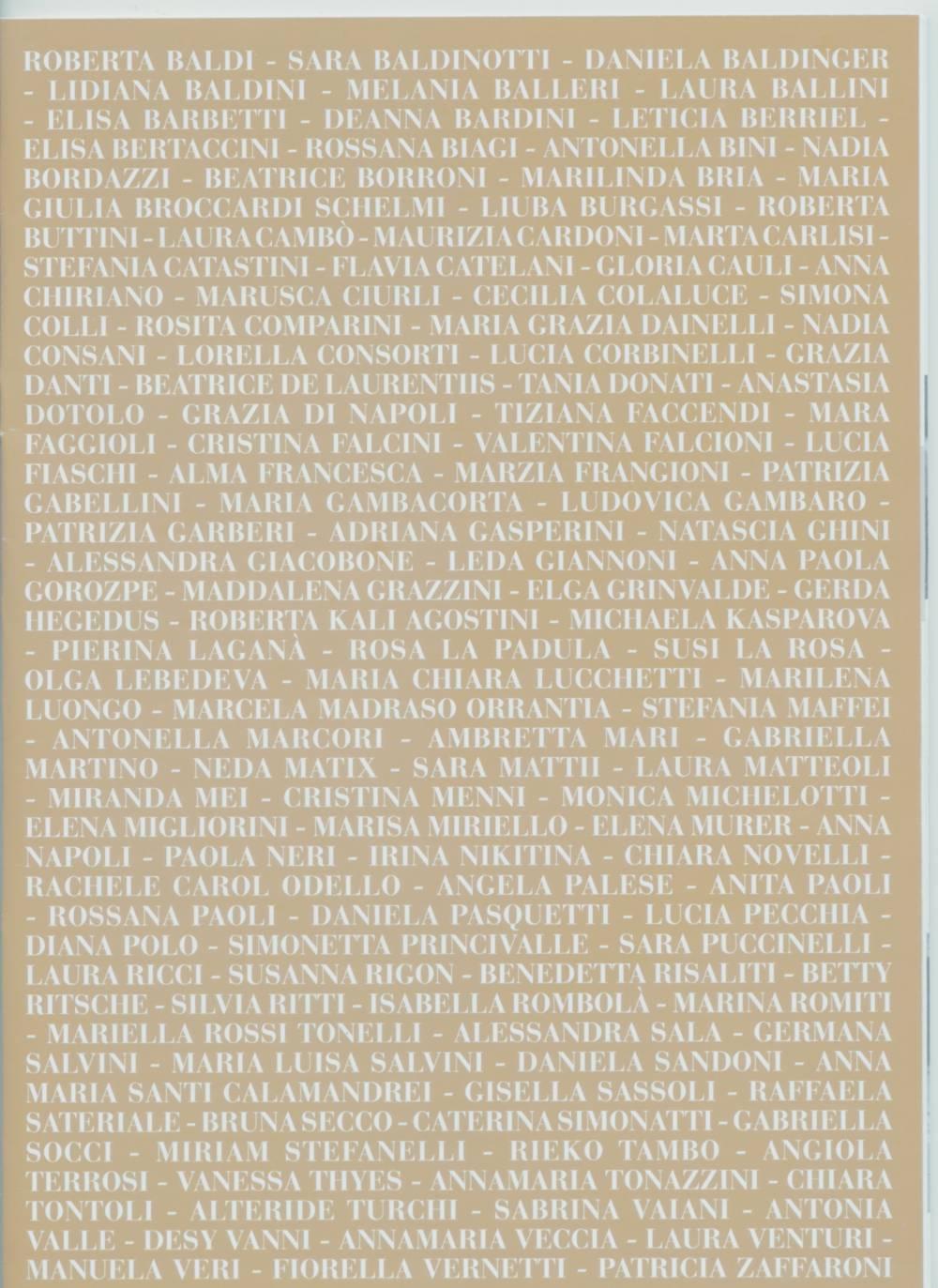 ELENCO ARTISTE per Donne nell´ Arte in Toscana 2016